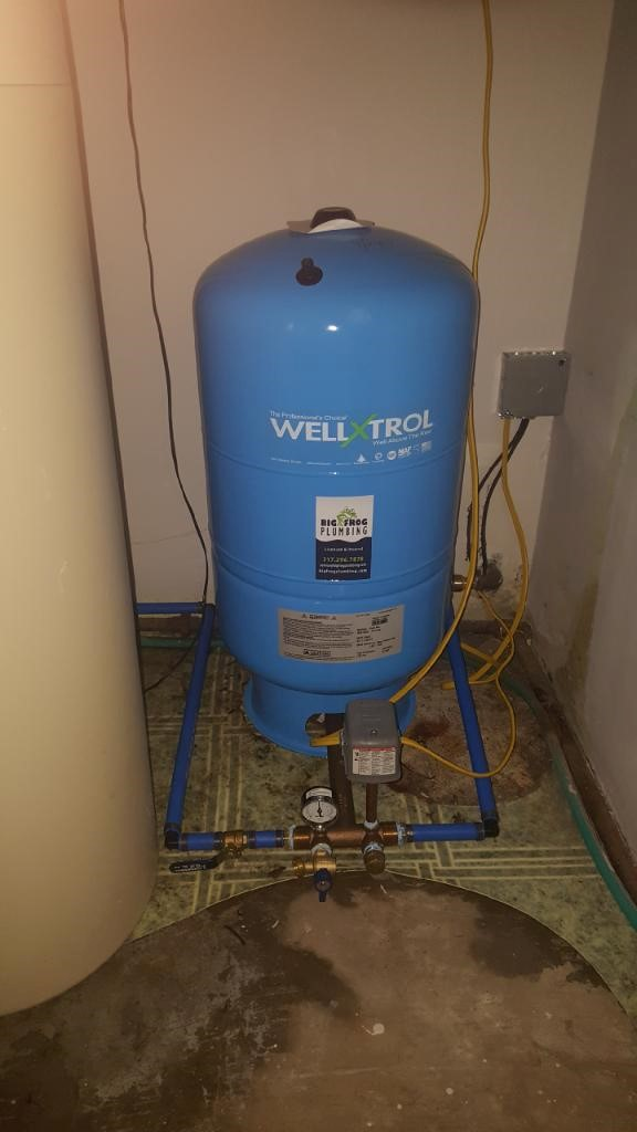 Well water pressure tank installation